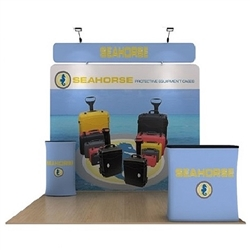 10ft Seahorse B Waveline Media Display | Single-Sided Tension Fabric Exhibit