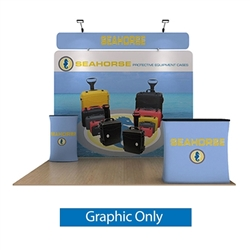 10ft Waveline Media Tension Fabric Display by Makitso - Seahorse B - Single Sided Graphic Only.  Choose this easy, impactful and affordable display to stand out from your competition at your next trade show.