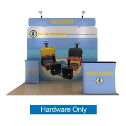 10ft Waveline Media Tension Fabric Display by Makitso - Seahorse B - Hardware Only.  Choose this easy, impactful and affordable display to stand out from your competition at your next trade show.