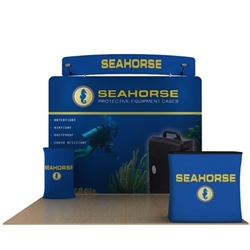 10ft Seahorse C Waveline Media Display | Single-Sided Tension Fabric Exhibit