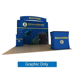10ft Waveline Media Tension Fabric Display by Makitso - Seahorse C - Single Sided Graphic Only.  Choose this easy, impactful and affordable display to stand out from your competition at your next trade show.