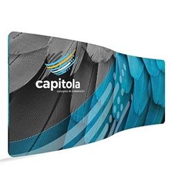 20ft Serpentine Waveline Media Display | Single-Sided Tension Fabric Exhibit