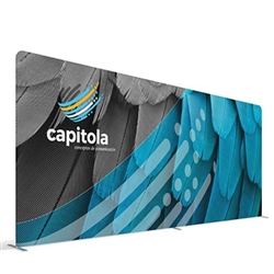 20ft (232in x 88in) WaveLine Media Fabric Display by Makitso - Flat - Single Sided Kit with CA Counter with Printed Wrap and LED Lights. Choose this easy, impactful and affordable display to stand out from your competition at your next trade show.