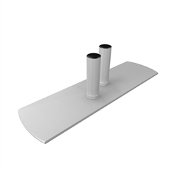 WaveLine Double Hole Left Foot. WaveLine single edge foot with aluminum necking for the WaveLine series of exhibit systems.