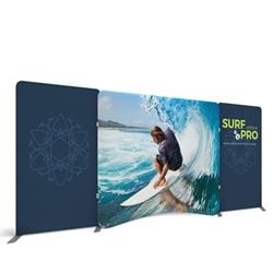 20ft Waveline display is one of the best tension fabric displays. The parts are attached by a bungee cord allowing you to create a backwall in minutes! Waveline booths are highly customizable with the addition of TV Mounts, Counters, Shelves and lights.