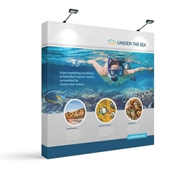 8ft x 5ft Makitso OneFabric Tabletop Straight Display  w/ End Caps.  Choose this easy, impactful and affordable display to stand out from your competition at your next trade show.