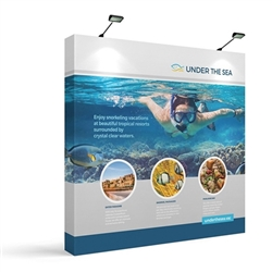 8ft x 8ft Makitso OneFabric Straight Display  - Single Sided with EndCaps, CA900 Counter with Printed Wrap.  Choose this easy, impactful and affordable display to stand out from your competition at your next trade show.