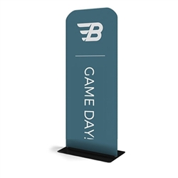24in x 60in WaveLine Banner Stand -  Rounded Corners,  Single-Sided Kit with Black Base.  Choose this easy, impactful and affordable display to stand out from your competition at your next trade show.