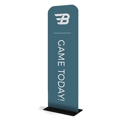 24in x 89in WaveLine Banner Stand -  Rounded Corners,  Double-Sided Kit with Black Base.  Choose this easy, impactful and affordable display to stand out from your competition at your next trade show.