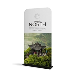 36in x 60in WaveLine Banner Stand -  Rounded Corners,  Single-Sided Kit with White Base.  Choose this easy, impactful and affordable display to stand out from your competition at your next trade show.