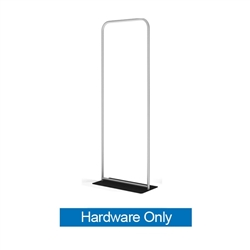 36in x 116in WaveLine Banner Stand -  Square Corners, White Base - Hardware Only.  Choose this easy, impactful and affordable display to stand out from your competition at your next trade show.