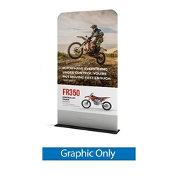 48in x 89in WaveLine Banner Stand -  Square  Corners,  Single-Sided Graphic Only.  Choose this easy, impactful and affordable display to stand out from your competition at your next trade show.