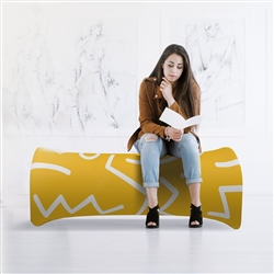 Inflatable Air Bench with Fabric Graphic Print - by Makitso. Portable indoor/outdoor modular seating.