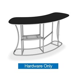 Waveline Infodesk Counter -  2 Panel Curved Convex - Hardware Only.  Choose this easy, impactful and affordable display to stand out from your competition at your next trade show.