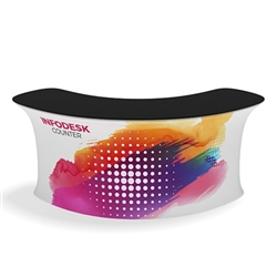 Waveline Infodesk Counter - 3 Panel Curved Convex - Package (Graphic and Hardware).  Choose this easy, impactful and affordable display to stand out from your competition at your next trade show.