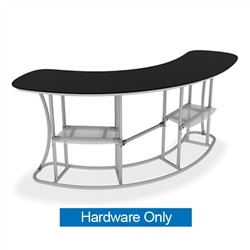 Waveline Infodesk Counter - 3 Panel Curved Convex - Hardware Only.  Choose this easy, impactful and affordable display to stand out from your competition at your next trade show.