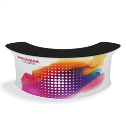 Waveline Infodesk Counter -  4 Panel Curved Convex - Package (Graphic and Hardware).  Choose this easy, impactful and affordable display to stand out from your competition at your next trade show.