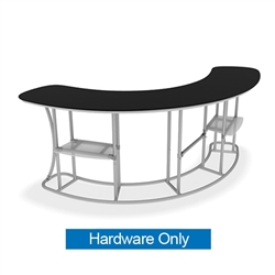 Waveline Infodesk Counter -  4 Panel Curved Convex - Hardware Only.  Choose this easy, impactful and affordable display to stand out from your competition at your next trade show.