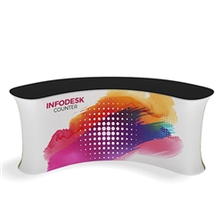 Waveline Infodesk Counter - 3 Panel Curved Concave - Package (Graphic and Hardware).  Choose this easy, impactful and affordable display to stand out from your competition at your next trade show.