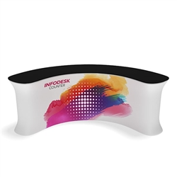 Waveline Infodesk Counter -  4 Panel Curved Concave - Package (Graphic and Hardware).  Choose this easy, impactful and affordable display to stand out from your competition at your next trade show.