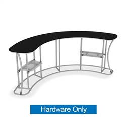 Waveline Infodesk Counter -  4 Panel Curved Concave - Hardware Only.  Choose this easy, impactful and affordable display to stand out from your competition at your next trade show.
