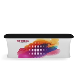 Waveline Infodesk Counter - 4 Panel Straight - Package (Graphic and Hardware).  Choose this easy, impactful and affordable display to stand out from your competition at your next trade show.