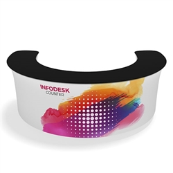 Waveline Infodesk Counter -   07CO  - Package (Graphic and Hardware).  Choose this easy, impactful and affordable display to stand out from your competition at your next trade show.