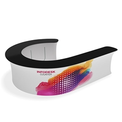 Waveline Infodesk Counter -  12J  - Package (Graphic and Hardware).  Choose this easy, impactful and affordable display to stand out from your competition at your next trade show.