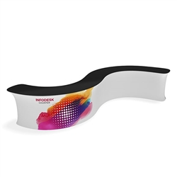 Waveline Infodesk Counter -  2 Panel Curved Convex - Package (Graphic and Hardware).  Choose this easy, impactful and affordable display to stand out from your competition at your next trade show.