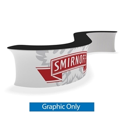 Waveline Infodesk Counter -  2 Panel Curved Convex - Graphic  Only.  Choose this easy, impactful and affordable display to stand out from your competition at your next trade show.