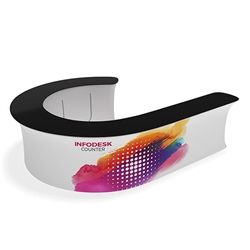 Waveline Infodesk Counter -  08J - Package (Graphic and Hardware).  Choose this easy, impactful and affordable display to stand out from your competition at your next trade show.