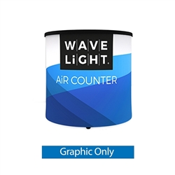 2ft x 2ft WaveLight Air Backlit Inflatable Circular Mini Counter Graphic Only. Perfect for product launches, food sampling, ticketing, retail counters, promotional displays, exhibition counters and more.