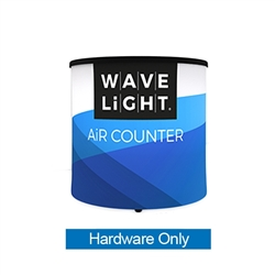 WaveLight Air Backlit Inflatable Circular Mini Counter Hardware Only (2ft x 2ft x 2ft H). Perfect for product launches, food sampling, ticketing, retail counters, promotional displays, exhibition counters and more.