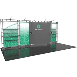 10ft x 20ft Felix Orbital Express Trade Show Truss Display Hardware Only is a complete truss exhibit, professionally designed to fit a 10ft × 20ft trade show booth space. Orbital truss displays are most popular trade show displays