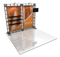 10ft Hercules 06 Orbital Express Truss Back Wall Display with Fabric Graphics. Truss is the next generation in dynamic trade show structure. Easy to assemble, exhibit and trade show display truss system designs can be used for structure or decorative.