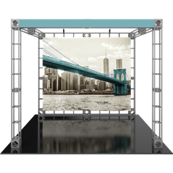 10ft x 10ft Luna-1 Orbital Express Trade Show Truss Display with Fabric Graphics. Orbital Expo Truss Express will give your next trade show the amazing look of a fully custom designed exhibit. Truss is the next generation in dynamic trade show structure