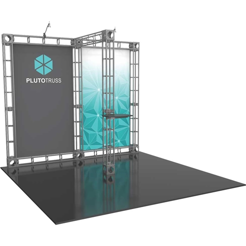 10ft x 10ft  Pluto Orbital Express Trade Show Truss Display with Fabric Graphics provides good weight bearing capability along with the great look of a truss system. We specialize in Trade show Displays, Truss Display Booth, Custom Modular Truss Systems