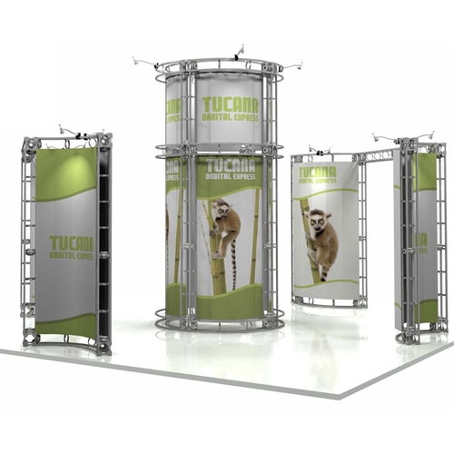 20ft x 20ft Island Tucana Orbital Express Truss Display with Rollable Graphic is a complete truss exhibit, professionally designed to fit a 20ft × 20ft trade show booth island space. Truss is the next generation in dynamic trade show structure