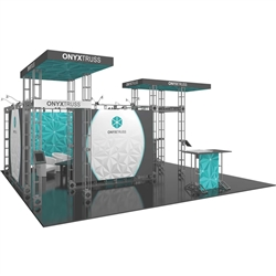 20ft x 20ft Island Onyx Orbital Express Truss Display with Fabric Graphic is the next generation in dynamic trade show exhibits. Onyx Orbital Express Truss Kit is a premium trade show display is designed to be used in a 20ft x 20ft exhibit space