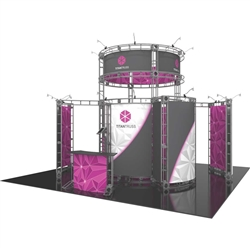20ft x 20ft Island Titan Orbital Express Truss Display with Fabric Graphic is the next generation in dynamic trade show exhibits. Titan Orbital Express Truss Kit is a premium trade show display is designed to be used in a 20ft x 20ft exhibit space