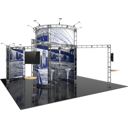 20ft x 20ft Island Atlas Orbital Express Truss Display with Fabric Graphic is the next generation in dynamic trade show exhibits. Onyx Orbital Express Truss Kit is a premium trade show display is designed to be used in a 20ft x 20ft exhibit space
