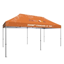 Outdoor 20ft x 10ft  Zoom Tents offer heavy duty commercial-grade popup frames designed for professional use. Canopies can customized with full color printing to display your company branding. Showcase your business name with our outdoor event tent