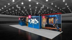 Custom trade show exhibit structures, like design # 108433V2 stand out on the convention floor. Draw eyes to your trade show booth with exciting custom exhibits & displays. We can customize any trade show exhibit or display to your specifications.