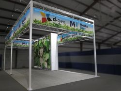 Custom trade show exhibit structures, like design # 324476 stand out on the convention floor. Draw eyes to your trade show booth with exciting custom exhibits & displays. We can customize any trade show exhibit or display to your specifications.