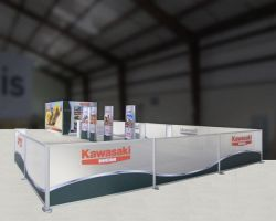 Custom trade show exhibit structures, like design # 325555 stand out on the convention floor. Draw eyes to your trade show booth with exciting custom exhibits & displays. We can customize any trade show exhibit or display to your specifications.