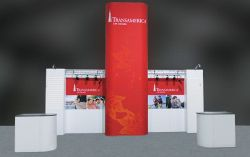 Custom trade show exhibit structures, like design # 326319 stand out on the convention floor. Draw eyes to your trade show booth with exciting custom exhibits & displays. We can customize any trade show exhibit or display to your specifications.