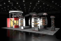 Custom trade show exhibit structures, like design # 43989 stand out on the convention floor. Draw eyes to your trade show booth with exciting custom exhibits & displays. We can customize any trade show exhibit or display to your specifications.