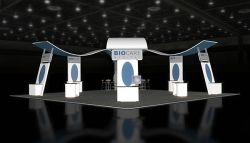 Custom trade show exhibit structures, like design # 46348 stand out on the convention floor. Draw eyes to your trade show booth with exciting custom exhibits & displays. We can customize any trade show exhibit or display to your specifications.