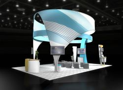 Custom trade show exhibit structures, like design # 47453 stand out on the convention floor. Draw eyes to your trade show booth with exciting custom exhibits & displays. We can customize any trade show exhibit or display to your specifications.