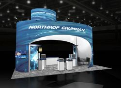 Custom trade show exhibit structures, like design # 47695 stand out on the convention floor. Draw eyes to your trade show booth with exciting custom exhibits & displays. We can customize any trade show exhibit or display to your specifications.